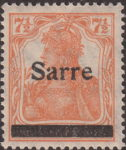 Germany 1920 SARRE postage stamp overprint flaw letter a in Sarre broken on top