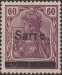 Germany 1920 SARRE postage stamp overprint flaw upper curve of letter S damaged