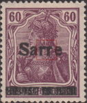 Germany 1920 SARRE postage stamp overprint flaw second letter r damaged on top