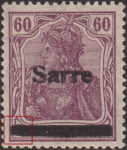 Germany 1920 SARRE postage stamp overprint flaw canceling bar damaged to bottom left