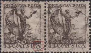 SHS Yugoslavia Croatia 20 filler postage stamp types 1 and 2