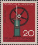 Germany 1964 postage stamp science technology Red color on gear.