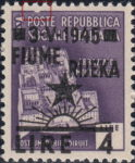 Yugoslavia 1945 provisional issue of postage stamps for Rijeka Indentation in top frame, above letter O in POSTE.