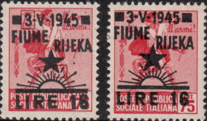 Yugoslavia 1945 provisional postage stamp issue for Rijeka Fiume overprint forgery