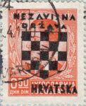 Croatia 1941 stamp overprint flaw retouching
