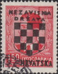 Croatia 1941 stamp overprint flaw spot between N and A in NEZAVISNA