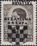 Croatia 1941 postage stamp shifted overprint