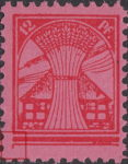 Germany Mecklenburg Vorpommern stamp plate flaw Vertical line at the left end of the lowest horizontal line, pointing downwards.