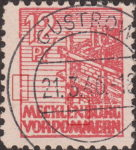 Germany Mecklenburg Vorpommern stamp plate flaw Left frame between the 3rd and the 4th horizontal lines above letter M of MECKLENBURG broken.