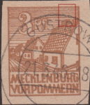 Germany Mecklenburg Vorpommern stamp plate flaw Horizontal lines above the chimney of the first house broken.